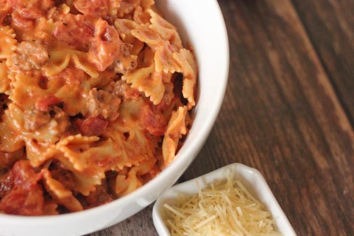 dish of creamy tomato sausage pasta