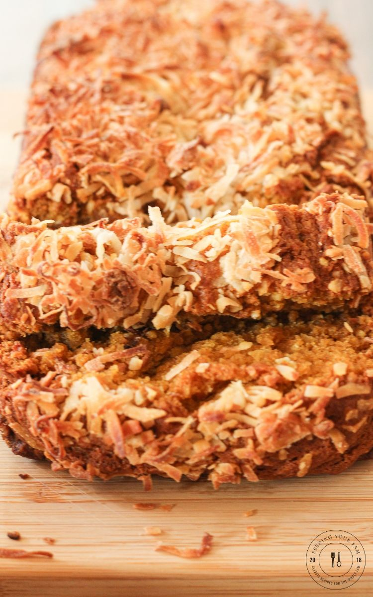 sliced coconut pumpkin bread