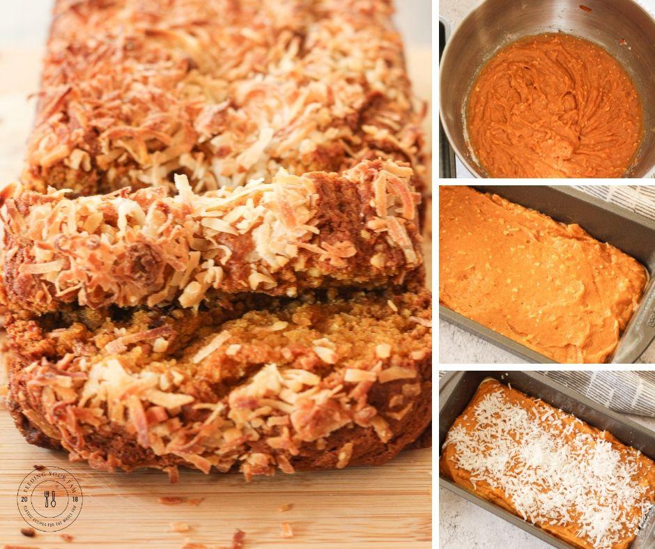 collage of steps tp make coconut pumpkin bread