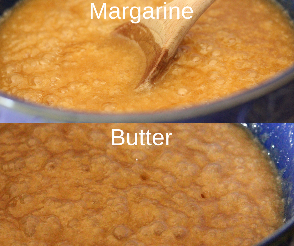 Margarine and butter caramels