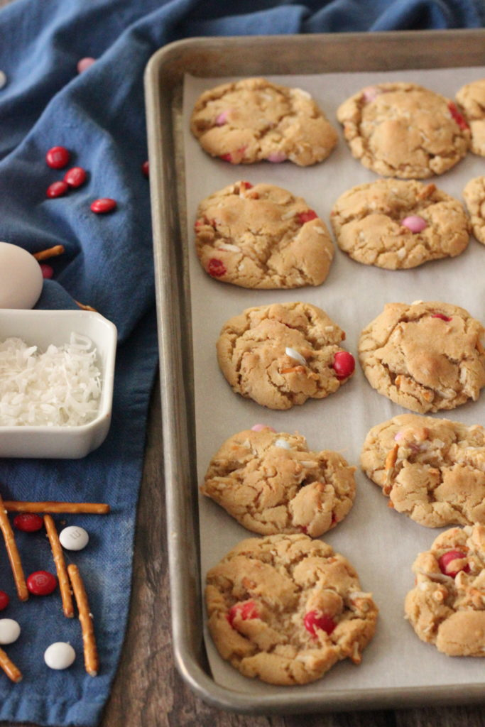 Baked Coconut Chocolate Crunch Cookies on a baking sheet