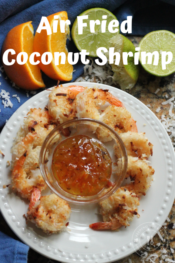 Air Fried Coconut Shrimp cooked to golden brown, served with an Orange Lime Dipping Sauce.