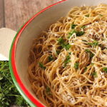 Browned Butter with Mizithra Cheese Spaghetti in a large bowl