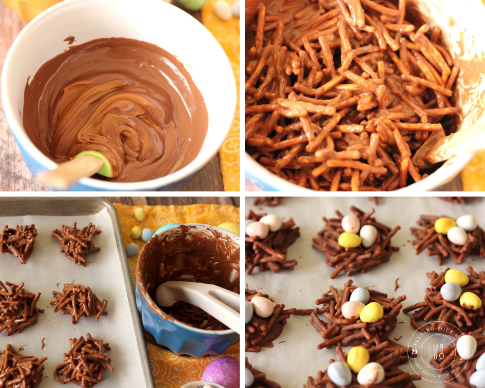 steps to making chocolate covered bird's nest cookies