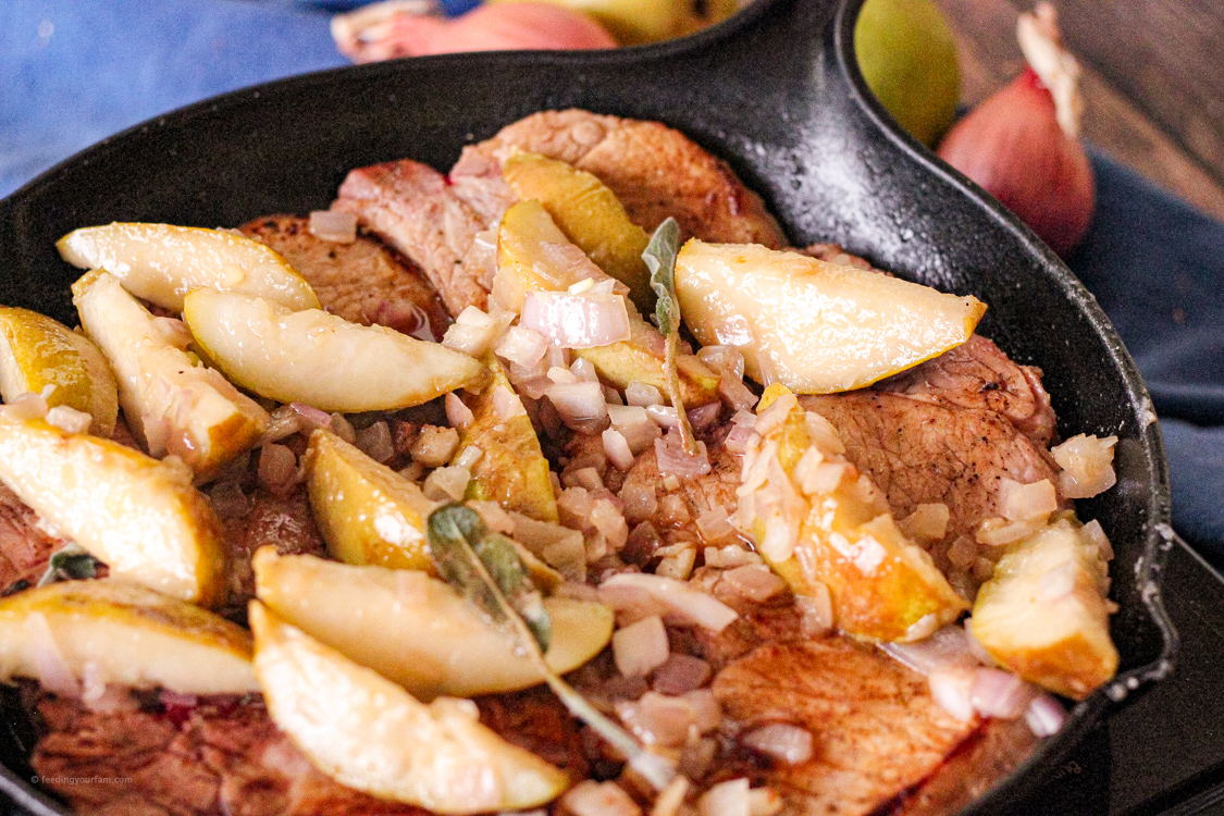 pork chops cooked with sage and pears