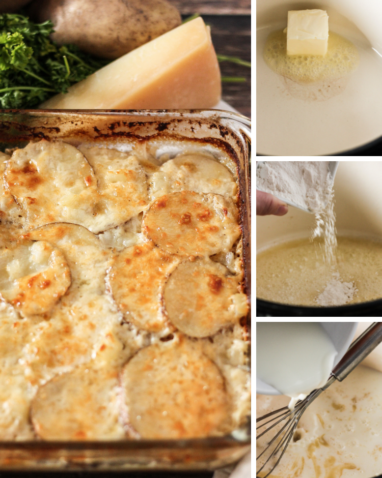 Steps to make scalloped potatoes. Melting butter, add flour and milk