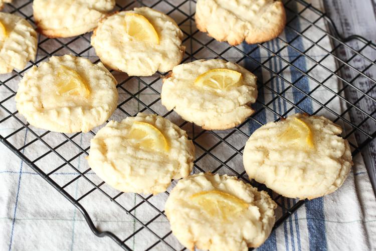Lemon sugar cookies on a cooling rack