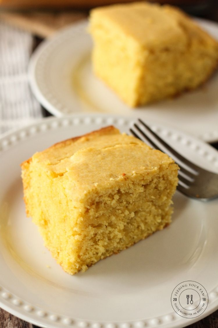 cornbread on a white plate
