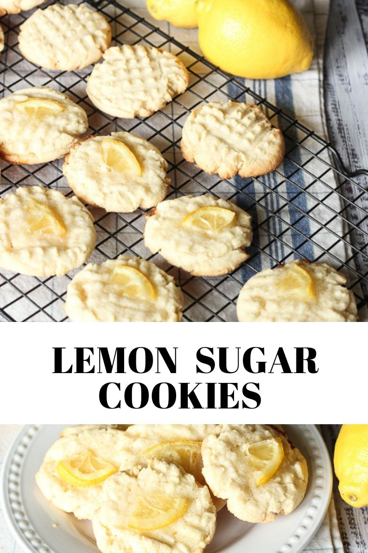 lemon sugar cookies on a plate and cooling rack
