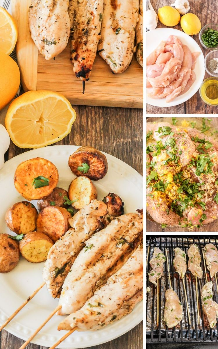 collage of images how to make grilled chicken kabobs