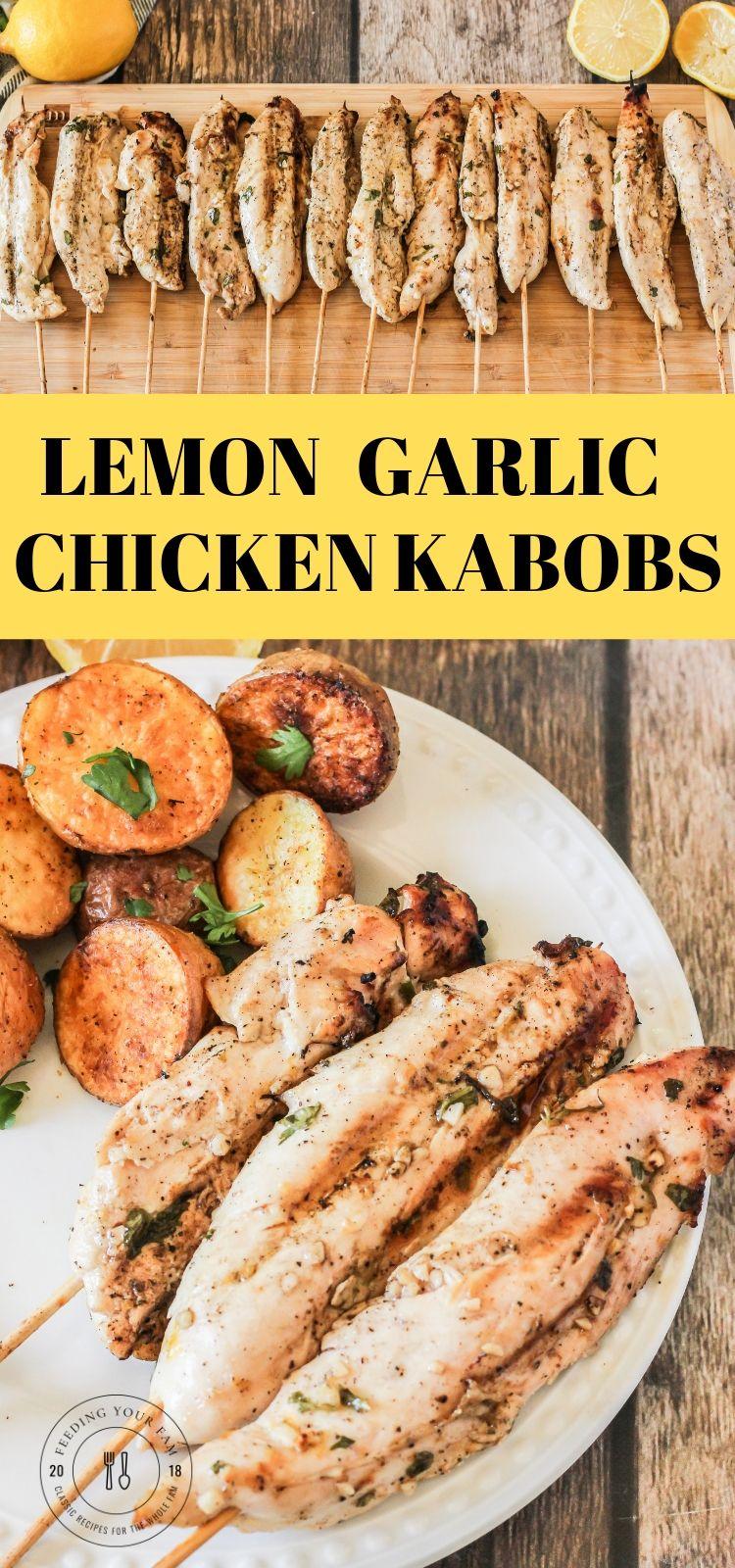 pinterest image of lemon garlic chicken kabobs