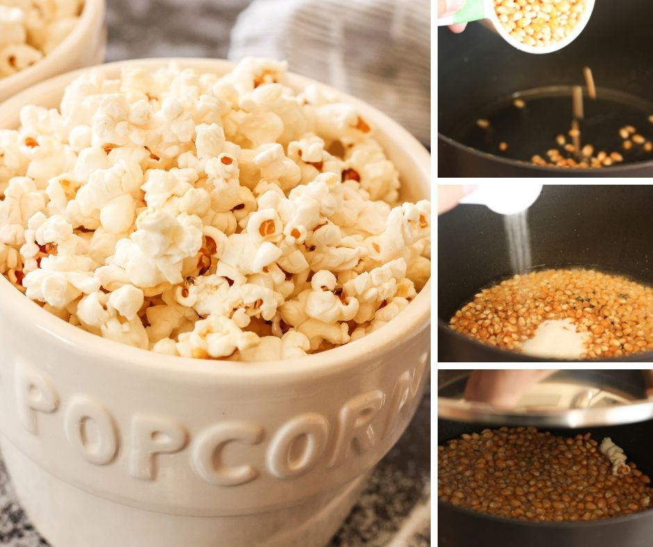 collage of steps to make homemade kettle corn