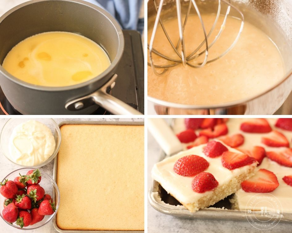 images of steps to make sheet cake