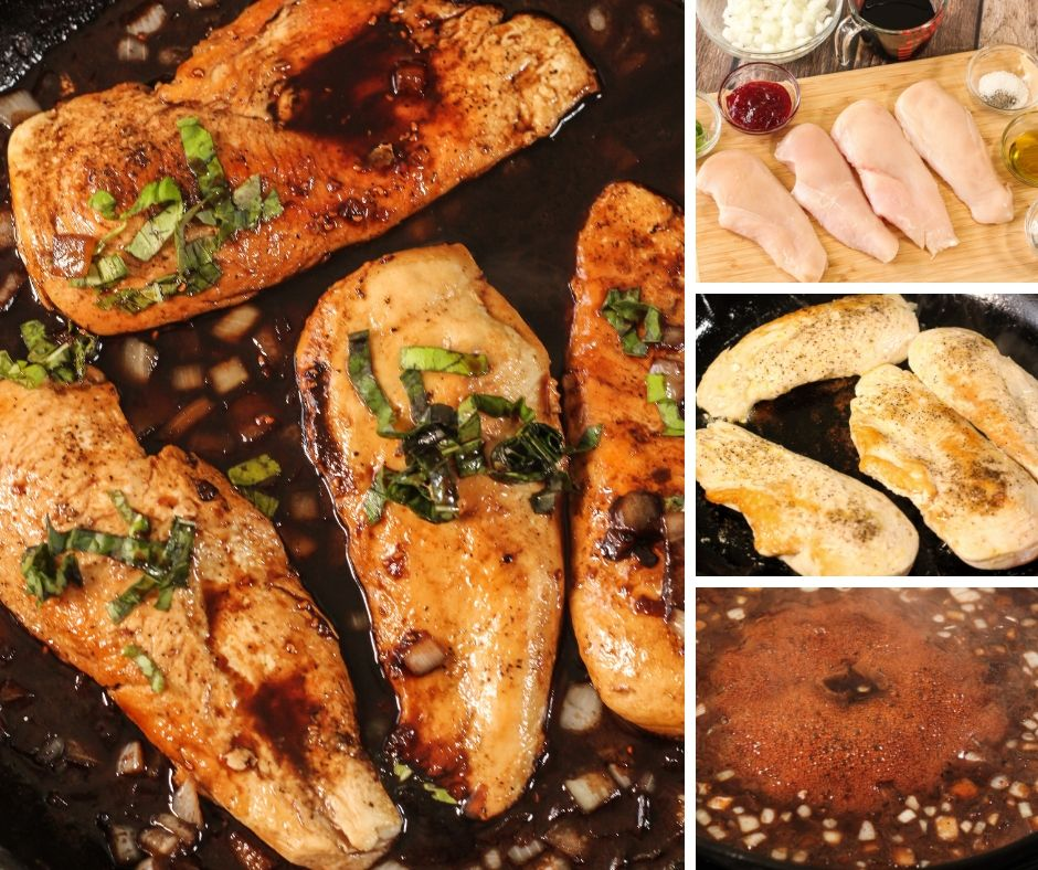 collage of how to make raspberry balsamic chicken