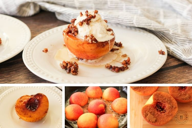 collage of caramelized peaches, brown sugar coated peach, peaches in a pan and caramelized peach on a plate