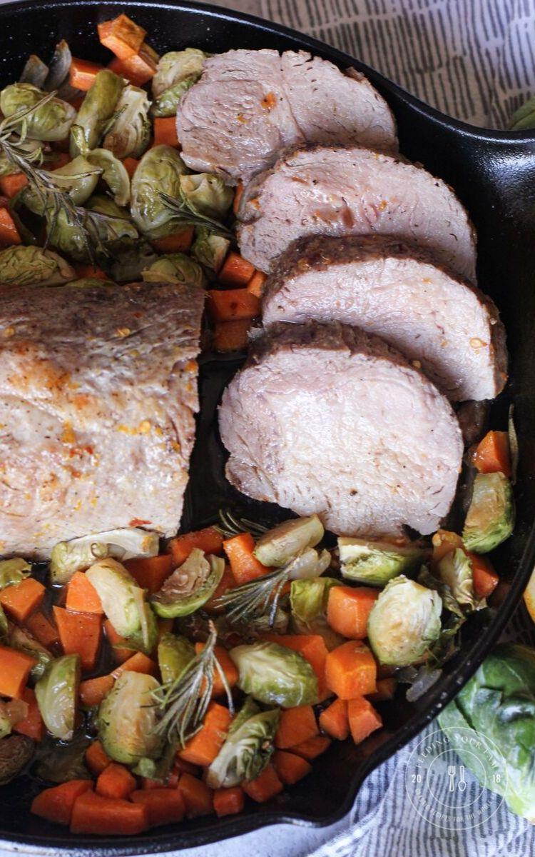 sliced pork loin roast in a cast iron pan