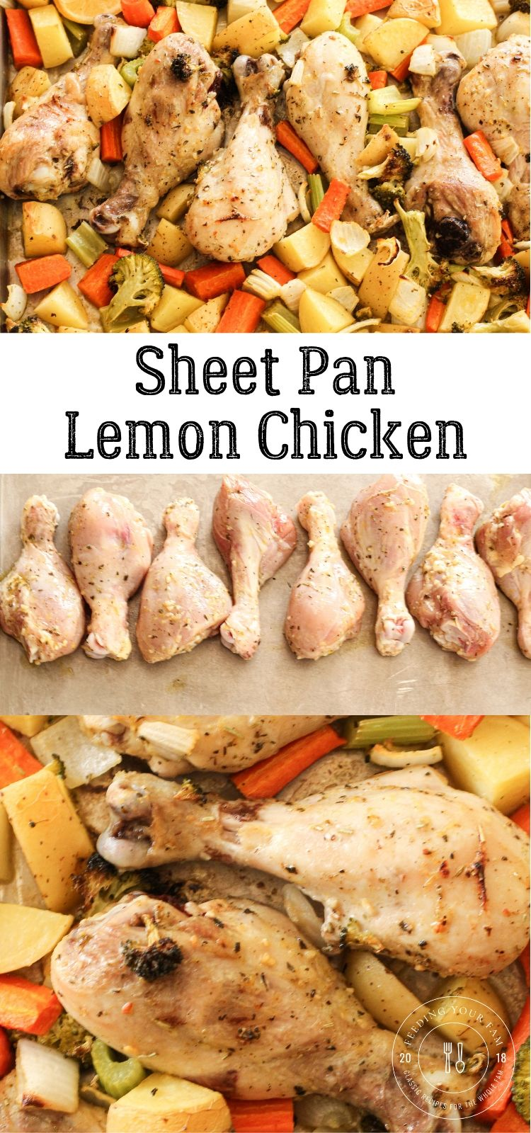 lemon chicken and vegetables on a sheet pan