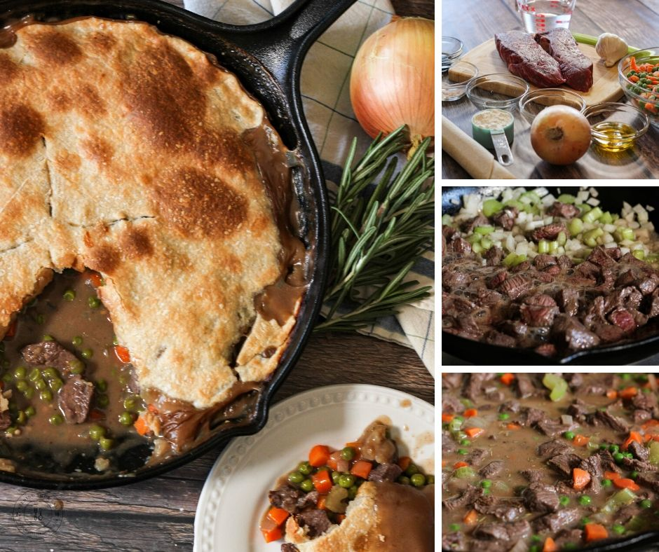 collage of how to make beef pot pie