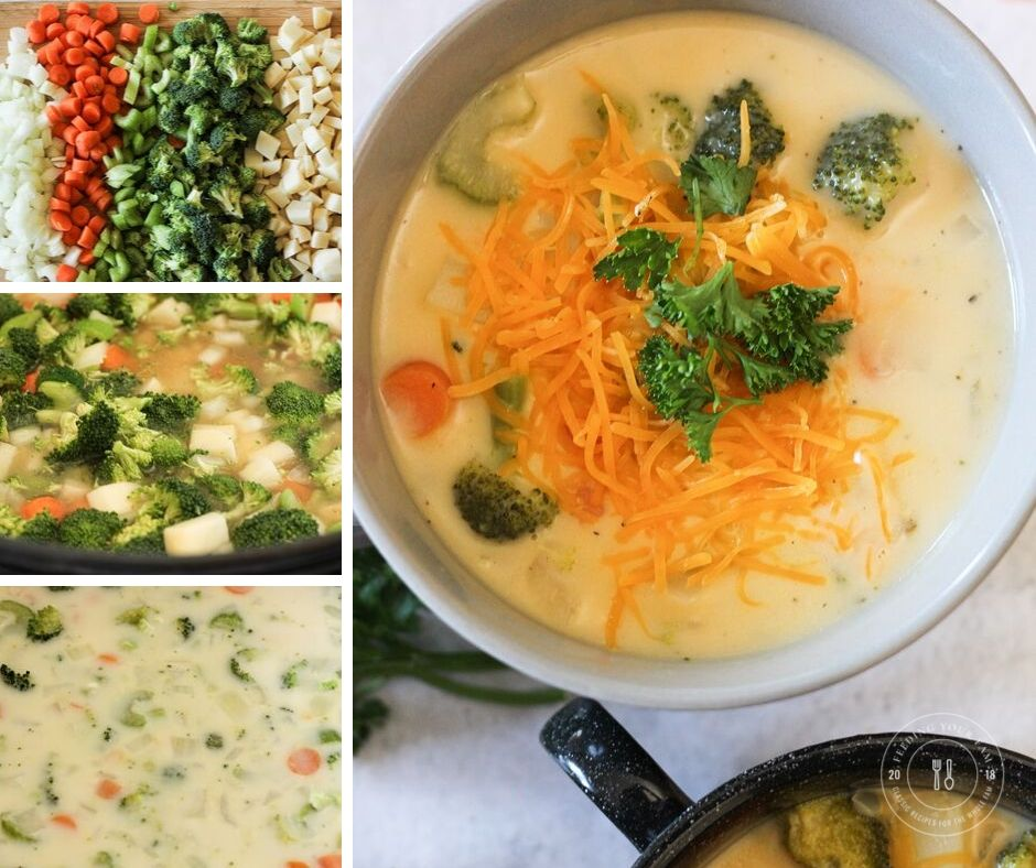 collage of steps to make broccoli cheese soup