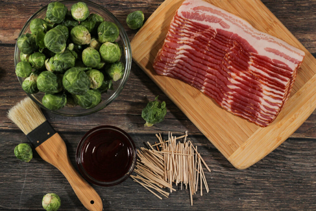 bacon, brussels sprouts, bbq sauce