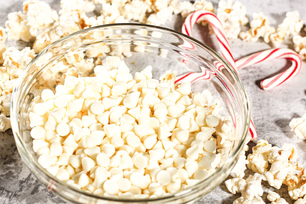 ingredients for white chocolate peppermint popcorn