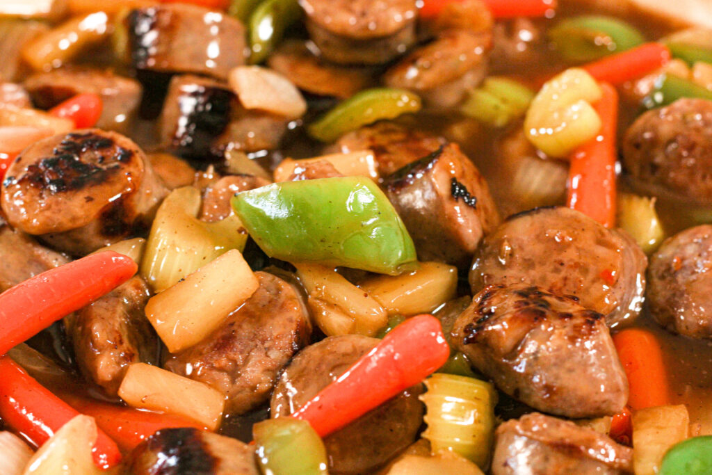 sausages in sweet and sour sauce