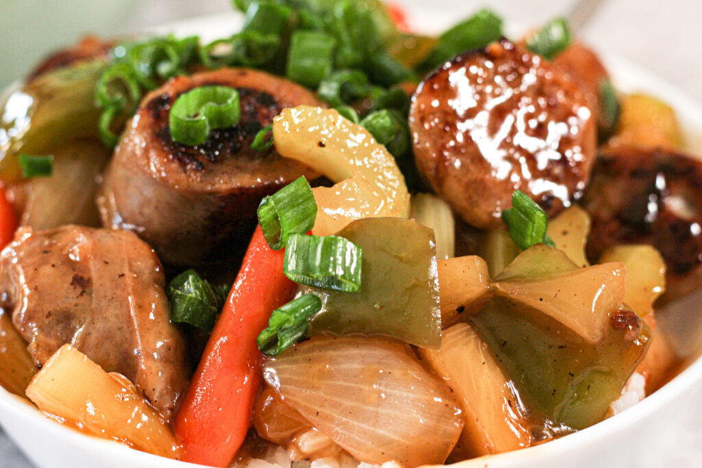 bowl of sweet and sour sausage