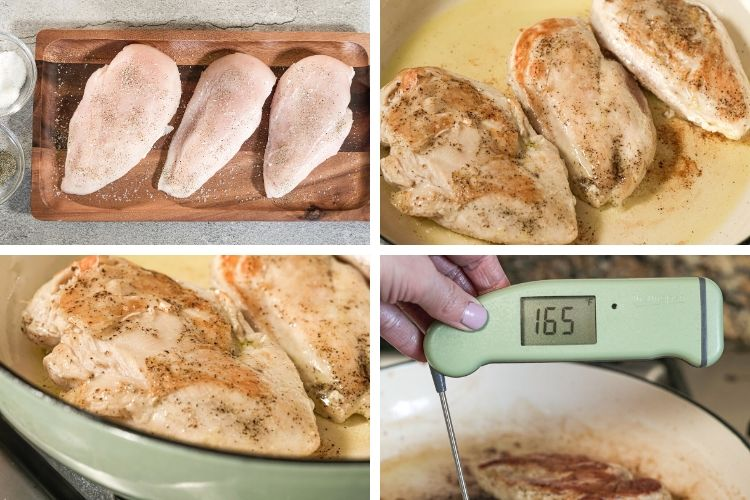 collage of pan cooking chicken