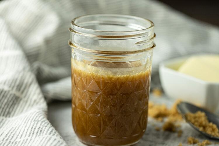 caramel sauce in a glass jar