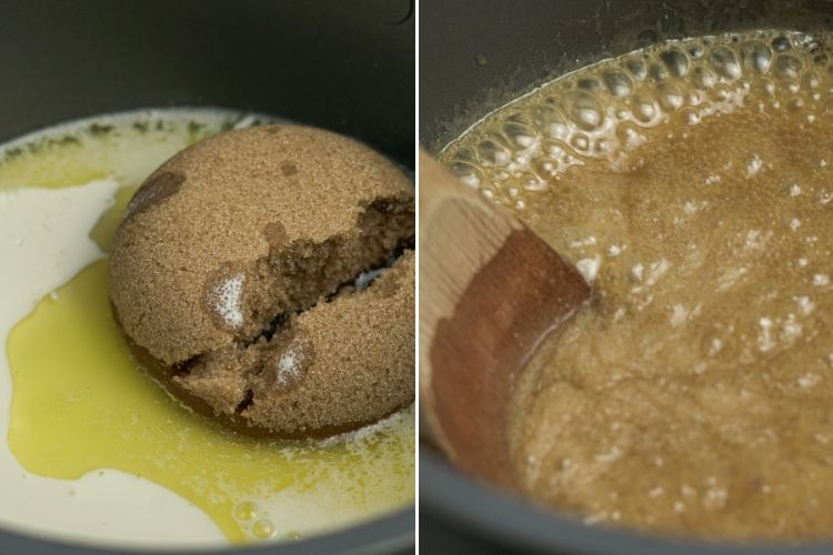 brown sugar, butter and cream in a pan on one side and boiling as caramel sauce on the other side