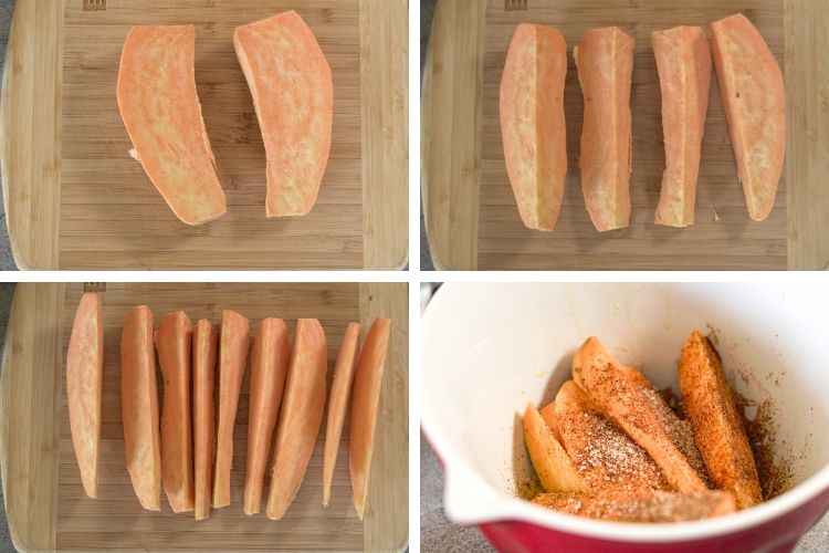 pictures of how to slice a sweet potato into halves, quarters and wedges