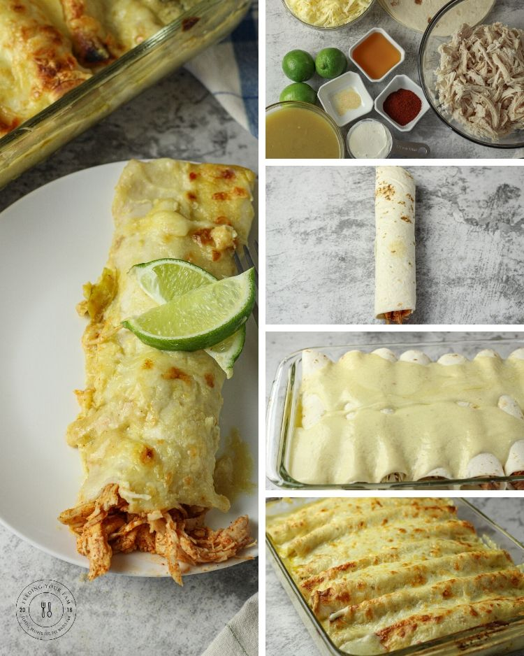 collage of how to make enchiladas