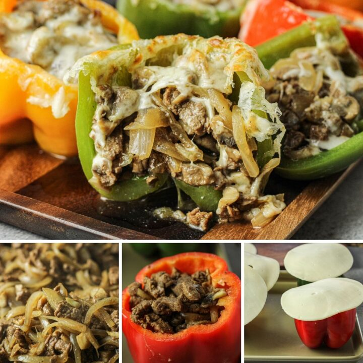 collage of steps to make cheesesteak stuffed peppers