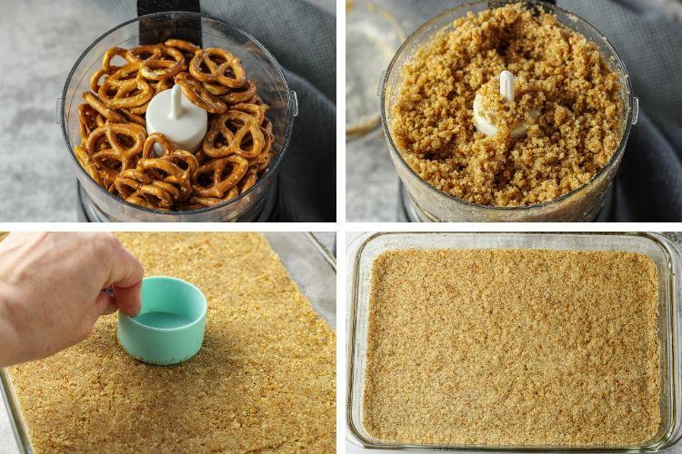 steps to make pretzel crust for pretzel salad