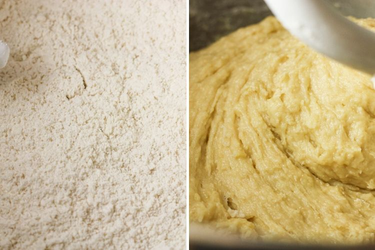 mixing dough for orange rolls