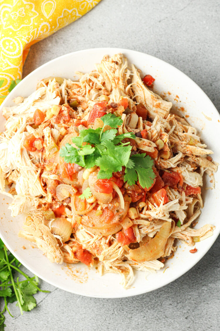 plate of shredded chicken