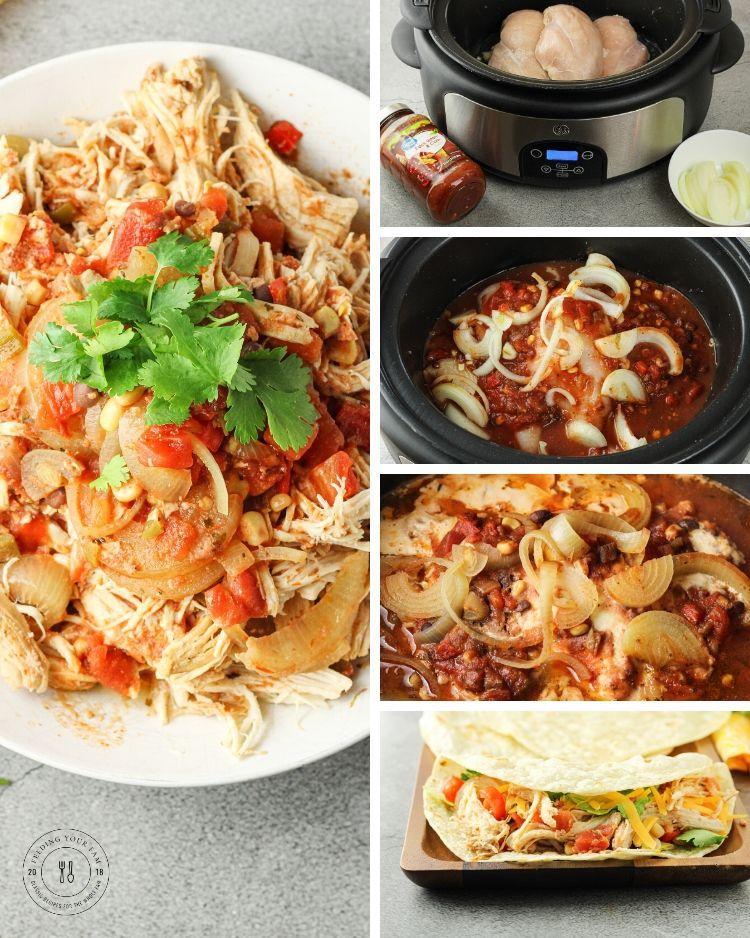 salsa chicken collage