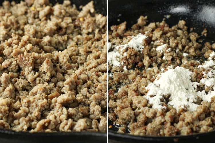 split image of browned sausage and sausage with flour