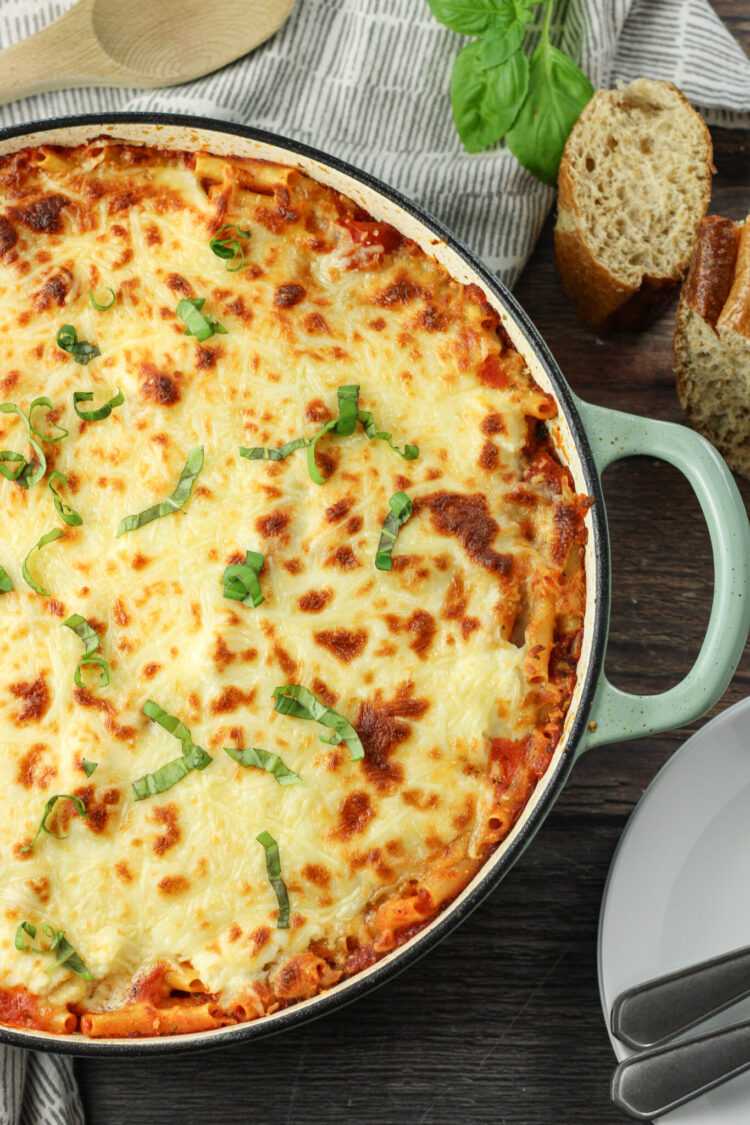 browned cheese on baked ziti