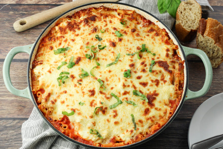 baked pasta dish in a pan