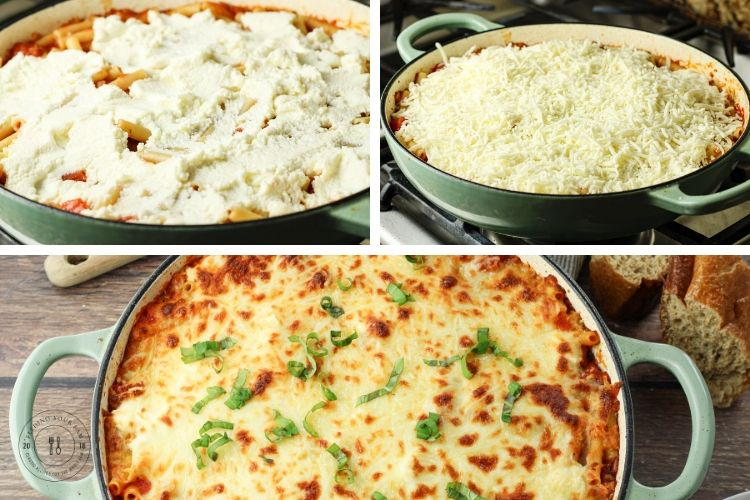collage of adding cheese to top of ziti