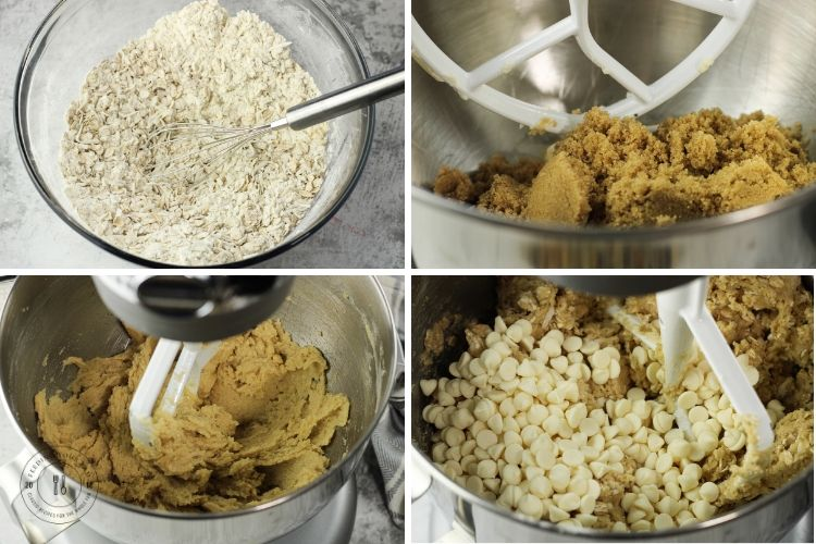 steps to making white chocolate cookies in a collage