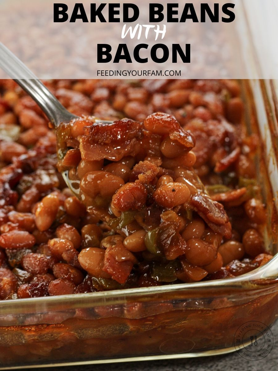 spoonful of baked beans image with the words baked beans with bacon on top