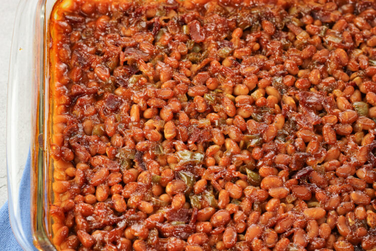 baked beans in a glass baking dish