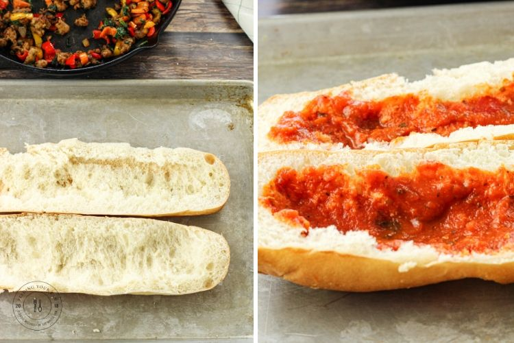 split image of hallowed out french bread on one side and layer of sauce in french bread on the other side