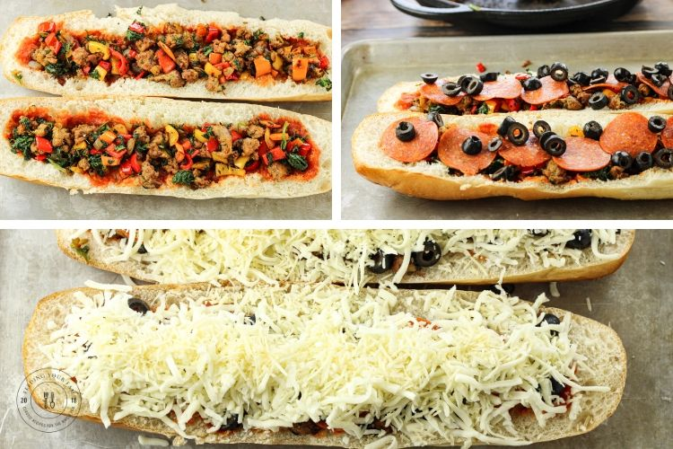 3 image collage of french bread stuffed with sausage and peppers, pepperoni and topped with cheese