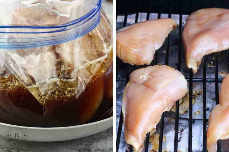 one half image is chicken in marinade in a zip top bag and the other half is chicken breasts on a grill