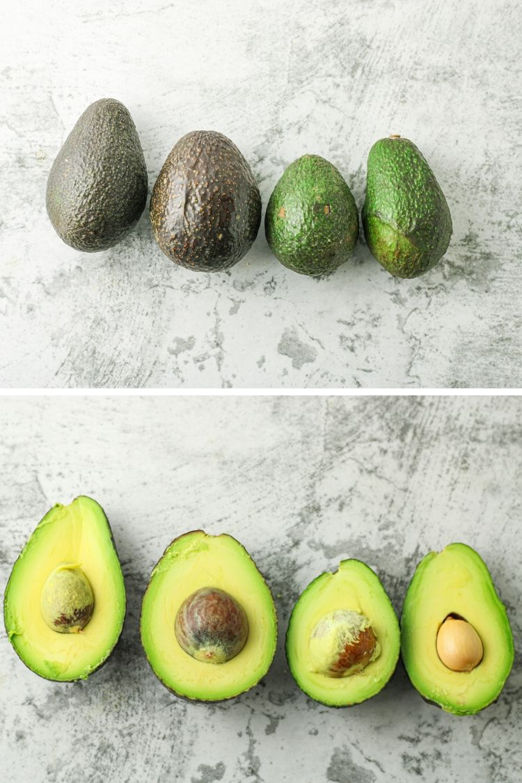 split image of full and sliced avocados