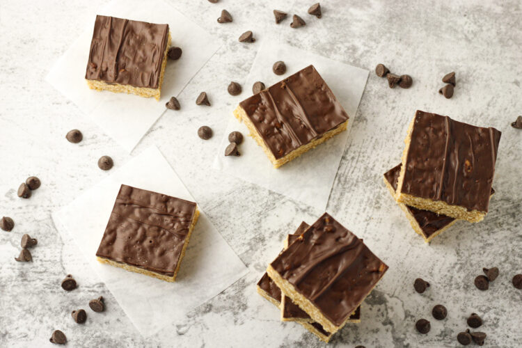rice krispies with peanut butter squares with scattered chocolate chips