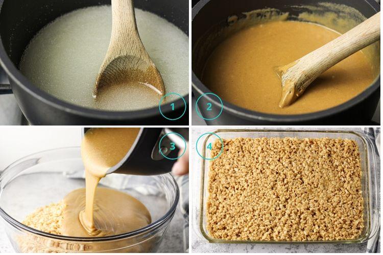 collage of steps to make pb rice krispies